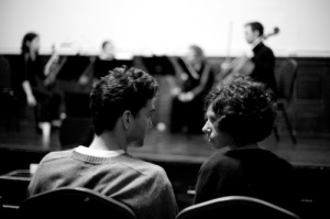 Fox at rehearsal with his collaborator, Gabriela Vainsencher. Photo by Nikolai Fox.